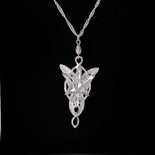 Fashion Silver Lord of the Rings Arwen Evenstar Pendant Crystal Necklace Jewelry