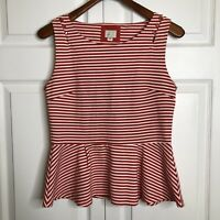 Anthropologie Postmark Antonia Red White Striped Peplum Sleeveless Tank Top Sz M