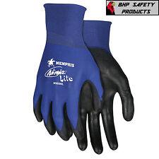 Mcr Safety Ninja Lite Nylon Work Gloves With Polyurethane Coated Palm Blue