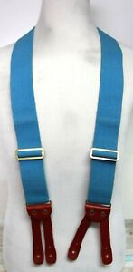 """WELCH HEAVY DUTY BLUE ELASTIC BROWN LEATHER BUTTON-ON X-BACK 2""""W SUSPENDERS (F71"""