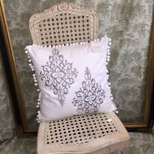 NEW CHIC POM POM FRINGE THROW PILLOW w/ SILVER & BLUE EMBROIDERED DAMASK 20x20