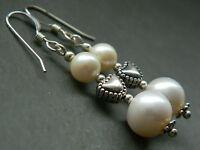Vintage & Freshwater Pearls, Heart & Sterling Silver Romantic Valentine Earrings