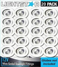 20 x White Gimbal Downlight Fittings 12V MR16 Low Voltage - 90mm cutout Gimble