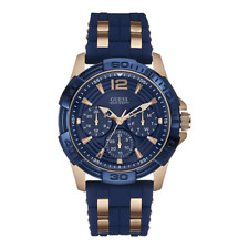 BRAND NEW AUTHENTIC GUESS MEN'S BLUE GOLD SILICONE BAND WATCH OU0366G4T