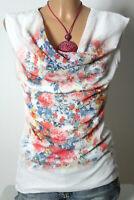 Top Gr. S weiß-bunt ärmellos Wasserfall Blumen Blusen Damen Top aus Italien