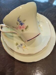 ROYAL STAFFORD Mint Green Floral Tea Cup, Saucer, Plate TRIO