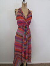 MUSE Multi-Color Print Self-Tie Asymmetrical Dress-Size 4