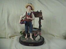 Montefiori Collection Figurine Boy Selling Fruit By The Wishing Well Signed RT