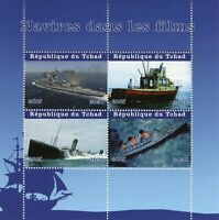 Chad Ships in Film Stamps 2021 MNH Movies Titanic Boats Nautical 4v M/S