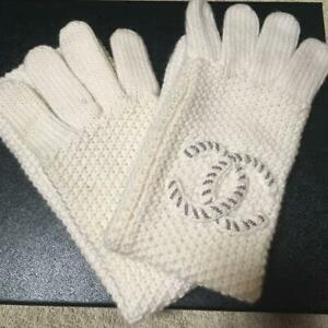 AUTH CHANEL GLOVES WOOL OFF WHITE COCO MARK CC LOGO LADY'S SHIPPING FREE