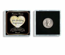 Personalised 30th Wedding Anniversary Lucky Sixpence Keepsake & Display Case W69