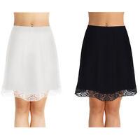 Women Cotton Slip Skirt Lace Extender Knee Length Underskirt Petticoat Hen Party
