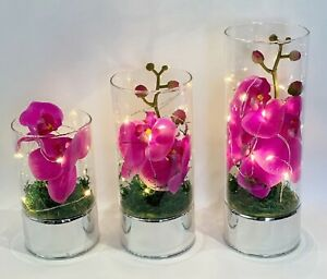 Glass Vase With Led String Lights Artificial Pink Orchid Flowers Wedding Decor