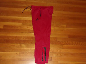 NEW ADIDAS RED ATHLETIC PANTS MENS LARGE