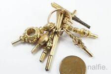 LOT 8 x ANTIQUE ENGLISH GOLD WATCH KEY FOBS / CHARMS on SPLIT RING c1800's