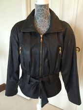 Ladies ~ Vtg 80's Black Leather Belted Quilted Moto Jacket Padded Shoulders (M)