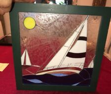 """Framed Stained Glass Sailboat Wall Plaque 11.5"""""""