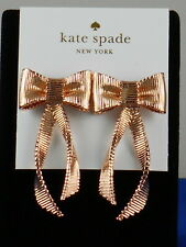 Kate Spade Rose Gold ALL WRAPPED UP Textured Bow Linear Drop Earrings O0RU2710