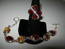 VINTAGE RED AND YELLOW SAPPHIRE BRACELET AND RING SIZE 5.5
