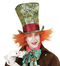 DELUXE CRAZY MAD HATTER  HAT WITH HAIR FANCY DRESS ACCESSORY PLUSH NOVELTY FUN