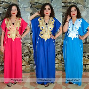 Moroccan Kaftan Womens Maxi Dress Arabian Farasha Casual Long Oversize Eid Gift