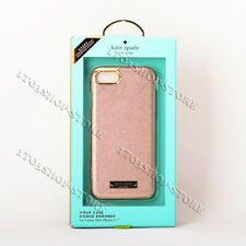 Kate Spade iPhone 7 & iPhone 8 Wrap Hard Leather Case Pink Rose Gold Logo Plate