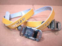 New-Old-Stock Lapize (Made in France) Leather Toe Straps...Yellow Color