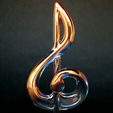 Treble Clef G Clef Figurine of Hand Blown Glass Gold