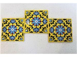 Indian Textiles Reproduction Decorative Ceramic Wall Tiles Fireplace, Kitchen