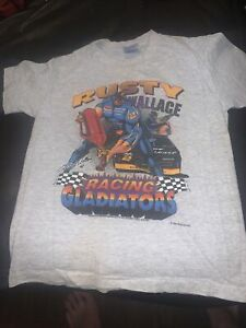 """Vintage Rusty Wallace Hanes Heavyweight """" Racing Gladiators"""" Youth Shirt Size M"""