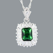 Brass Pendant 18K White GP CZ Green Emerald Rectangular Cut N Free Chain