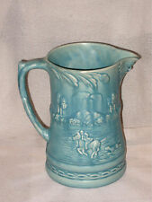 "LARGE VINTAGE BLUE JUG BY ARTHUR WOOD WITH HUNTING SCENE & MASK c1940's 8"" TALL"