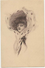 ART CARD SIGNED COBB SHINN YOUNG LADY - POSTED MILWAUKEE 1908