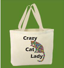 100% Algodón CRAZY CAT LADY animados DIVERTIDO GRACIOSO BOLSA para la vida