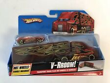 2009 Hot Wheels Transport Truck V-RROOM Truck & Car Included (New In Package)