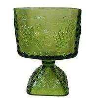Vintage Jeanette Green Glass Grape Pedestal Open Square Candy Wedding Dish
