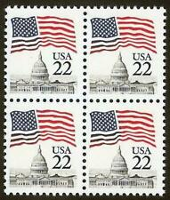 "2114 Inking Error / EFO Block of 4 ""Flag Over Capitol"" Mint NH"