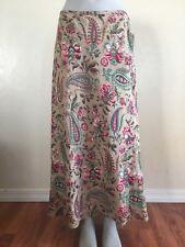 East 5th B.N.W.T Women's Sz 12 Linen Floral Paisley Lined Full Length Skirt $36