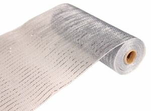10 inch x 10 yards  30 feet  Deco Poly Mesh Ribbon   Silver with Silver Foil