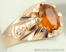 Antique c1900 Victorian Natural Madeira Citrine 10k Solid Rose Gold Men's Ring