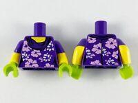 Lego New Dark Purple Minifig Torso Female Lavender Flowers Green Glove Hand D362