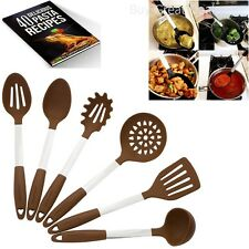 Brown Kitchen Utensil Set - Stainless Steel & Silicone Heat w/ Free Gift NEW