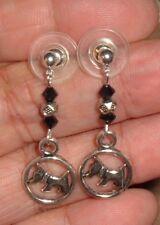 """Scotty"" Scottish Terrier W/Crystals Earrings Post Hooks Box"