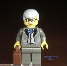 LEGO Minifig Businessman Older Man Owner Boss Gray Pinstripe Briefcase Agent