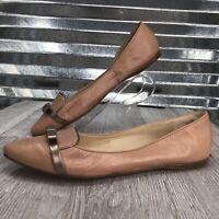 Nine West Women's Nude Leather Gold Bow Slip On Comfort Flat Shoe Size 8