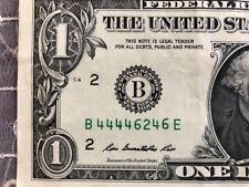 TRINARY SOLID FIRST QUAD 4444 FIVE 4's in $1 Dollar Bill SERIAL NUMBER NOTE