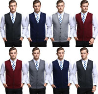 Mens Knitted Vintage Buttons Cardigan Sleeveless Jumper Vest Knitwear Sweater