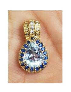 Natural Aquamarine Blue White Sapphire Solid 9K White Gold Pendant Necklace