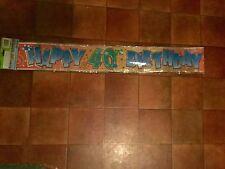 40th Happy Birthday Banner ~ 12 Foot Foil ~