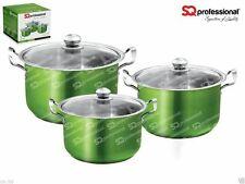 SQ PRO 6 color Metallic Stainless steel 3pc cooking/casserole pot set 28 to 32cm